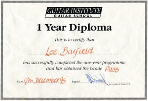 Lee Barfield, graduation certificate